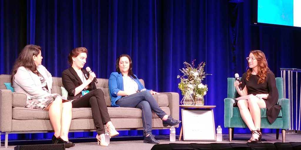 Natalie Villalobos Carrie Shaw, CEO of Embodied Labs, Carolina Castilla, CEO of Massive Act, and Liliana Monge
