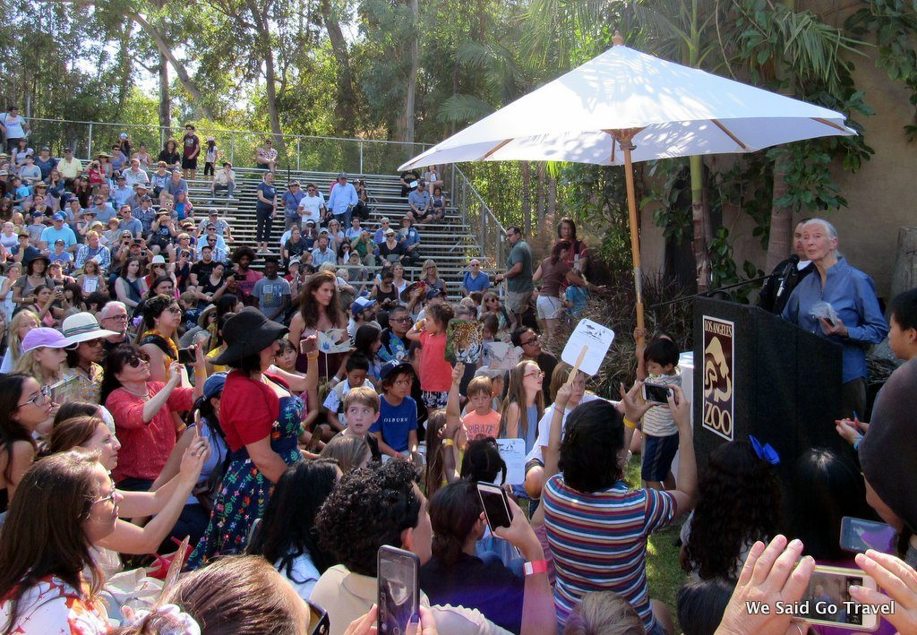 Dr. Jane Goodall speaking at the LA Zoo
