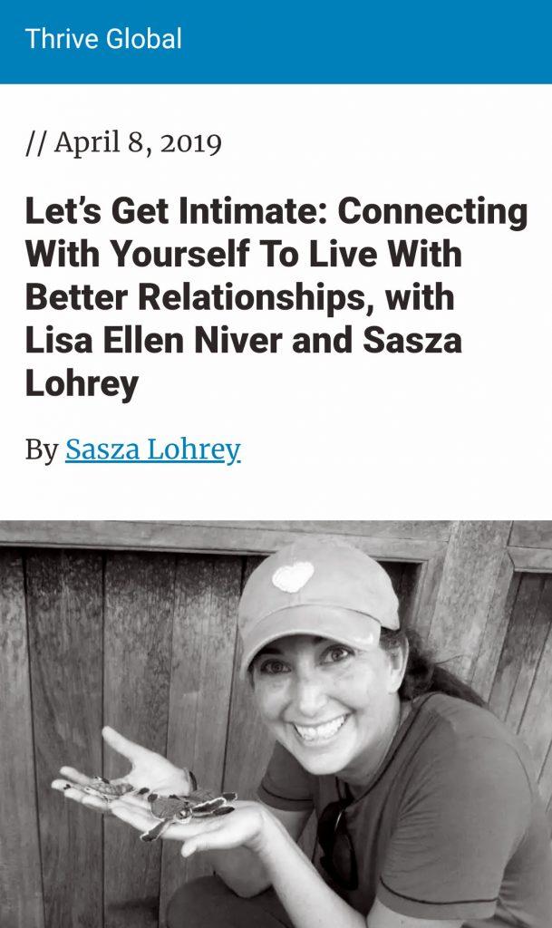 Lisa Niver on Thrive Global Let's Get Intimate