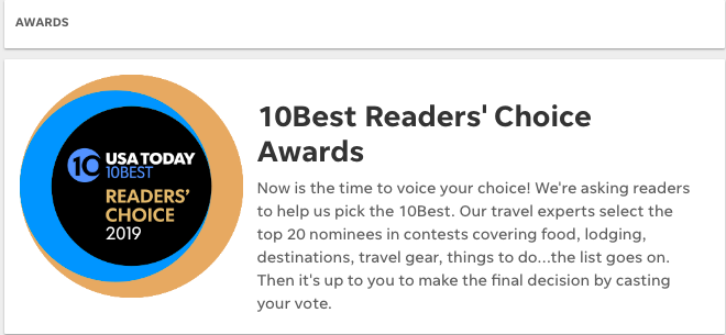 USA Today 10best readers Choice awards