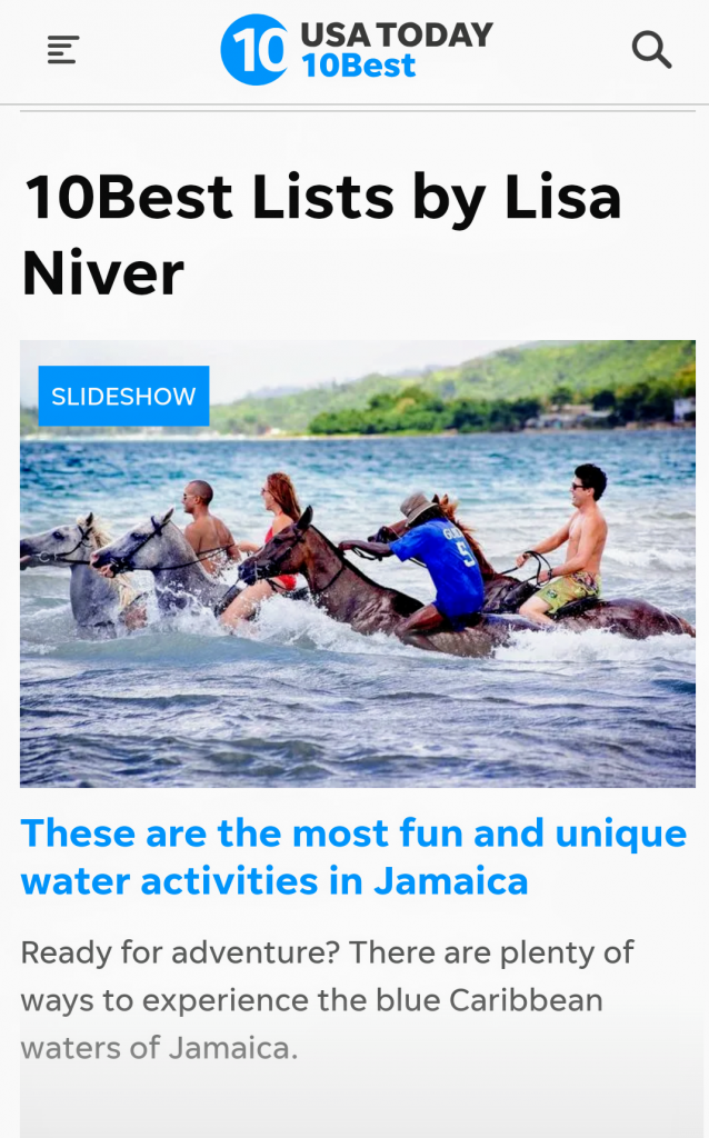 USA Today Jamaica article by Lisa Niver