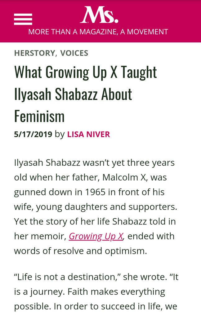 Ms. Magazine Ilyasah Shabazz article