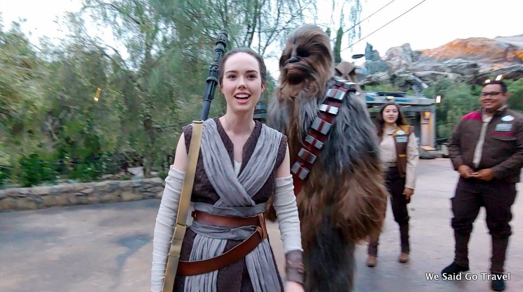 Rey and Chewbacca at Star Wars Galaxy's Edge
