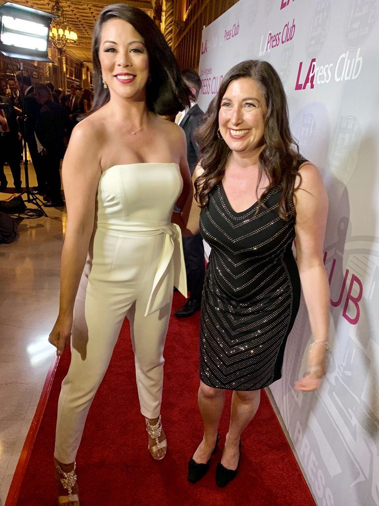 Cher Calvin and Lisa Niver on the red carpet at the Southern California Journalism Awards 2019