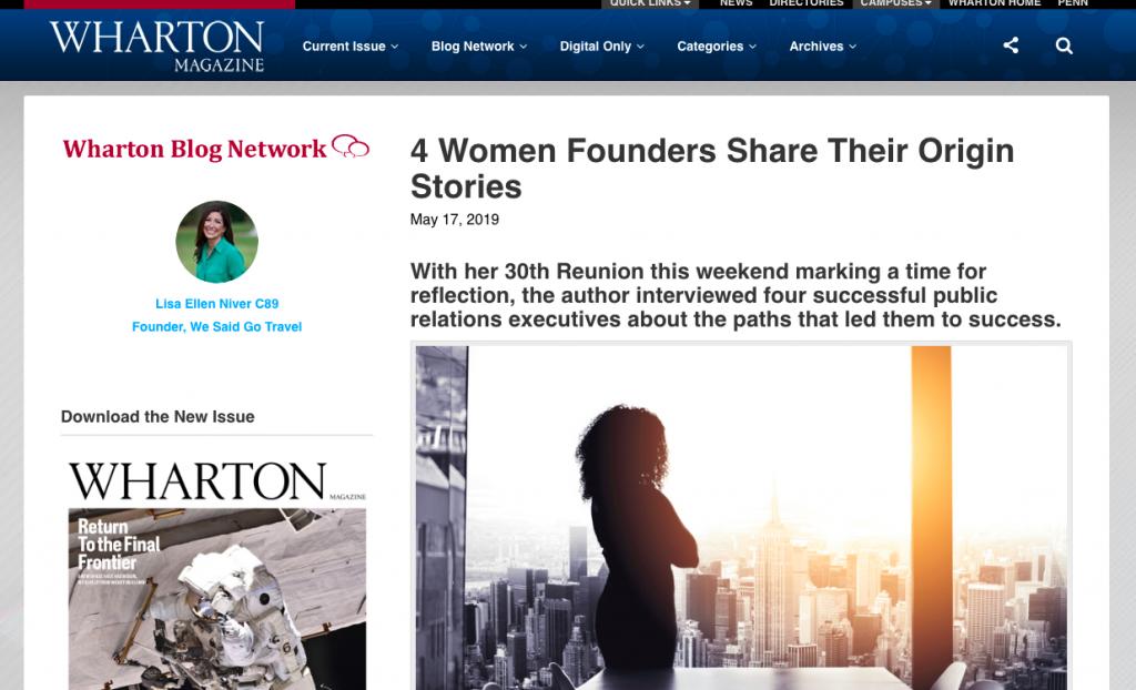 "Wharton Magazine by Lisa Niver ""4 Women Founders Share Their Origin Stories"