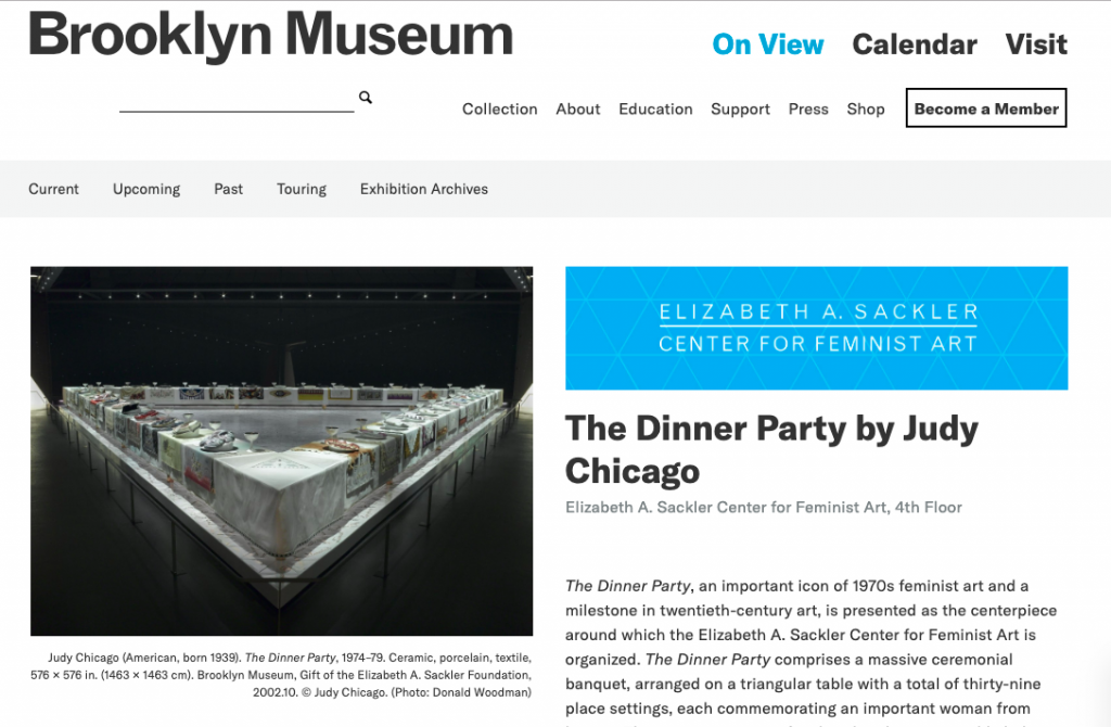 Judy Chicago's THE DINNER PARTY is on display at the Brooklyn Museum