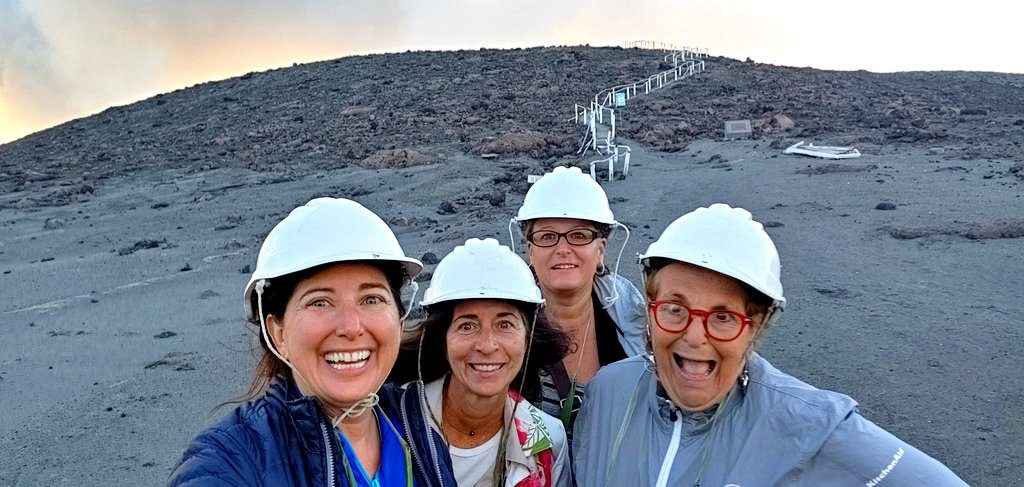 Lisa, Tree, Mandy and Sue at Mount Yasur Volcano in Tanna, Vanuatu