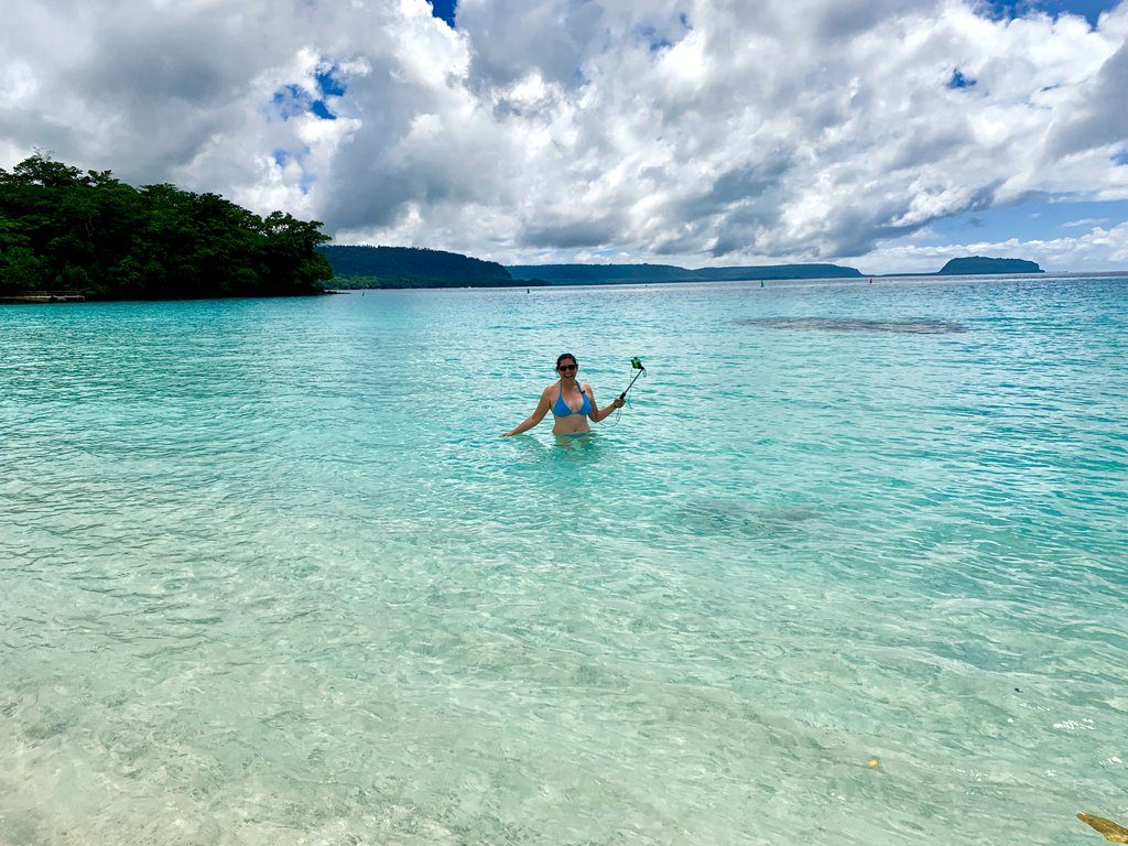 Lisa Niver at Champagne Beach in Vanuatu