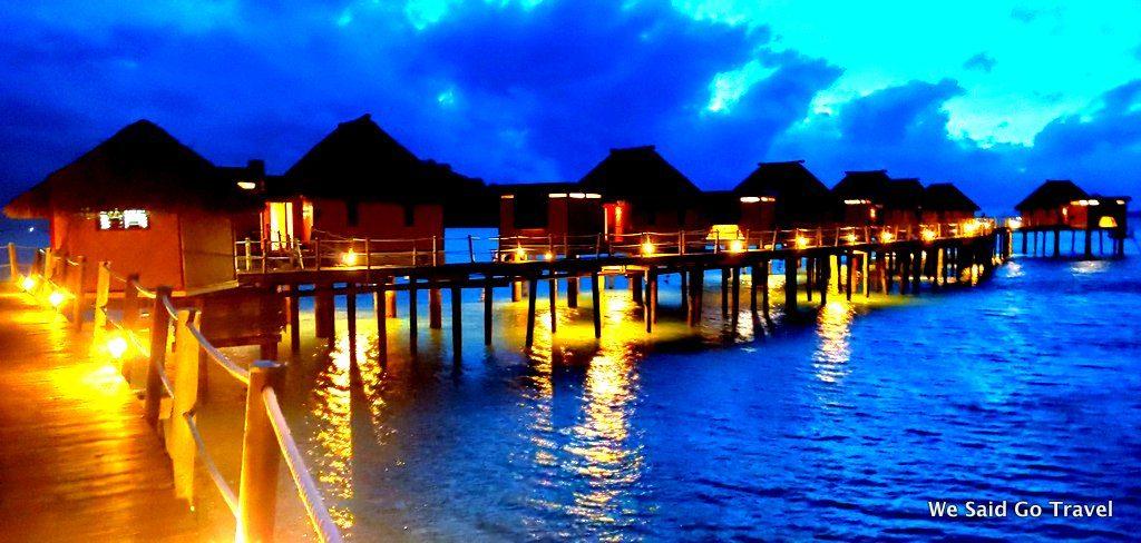 Night time at Likuliku Overwater Bungalows in Fiji by Lisa Niver