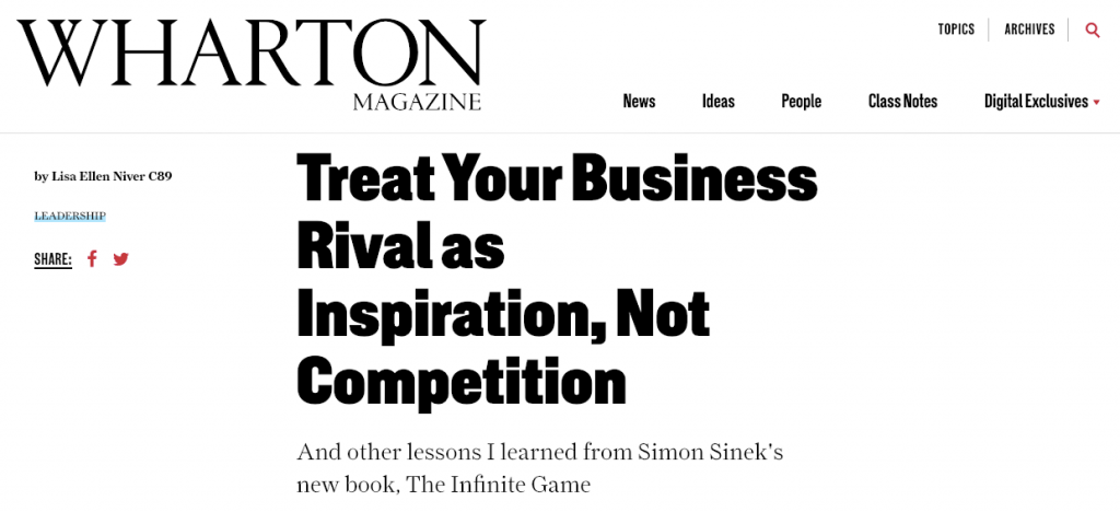 Wharton Magazine by Lisa Niver about Simon Sinek