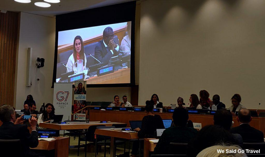Melinda Gates speaking at UN Women meeting Sept 23, 2019 New York City