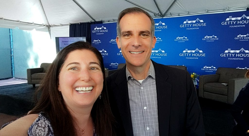 Lisa Niver and Mayor Eric Garcetti at Getty House Nov 2019