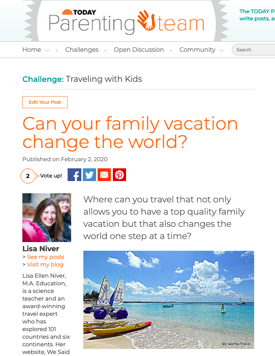 Lisa Niver's article on Beaches Resorts in TODAY.com