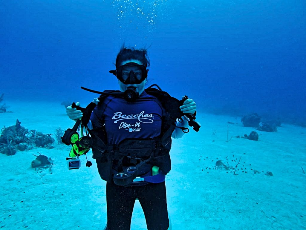 Lisa Niver underwater with PADI Dive-In at Beaches Turks and Caicos